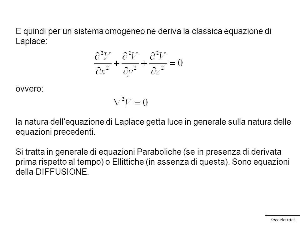Geoelettrica E quindi per un sistema omogeneo ne deriva la classica equazione di Laplace: la natura dellequazione di Laplace getta luce in generale su