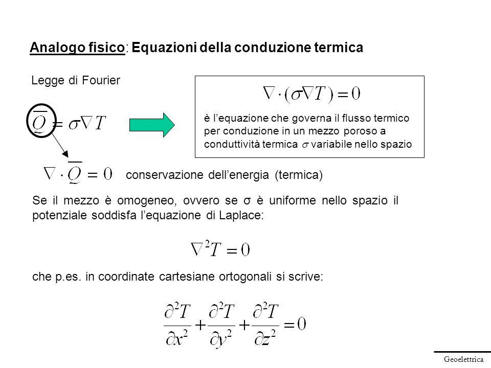 Geoelettrica Analogo fisico: Equazioni della conduzione termica Se il mezzo è omogeneo, ovvero se σ è uniforme nello spazio il potenziale soddisfa leq