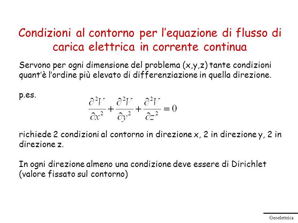 Geoelettrica Condizioni al contorno per lequazione di flusso di carica elettrica in corrente continua Servono per ogni dimensione del problema (x,y,z)