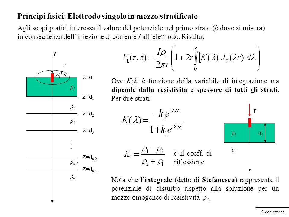 Geoelettrica Principi fisici: Elettrodo singolo in mezzo stratificato Agli scopi pratici interessa il valore del potenziale nel primo strato (è dove s