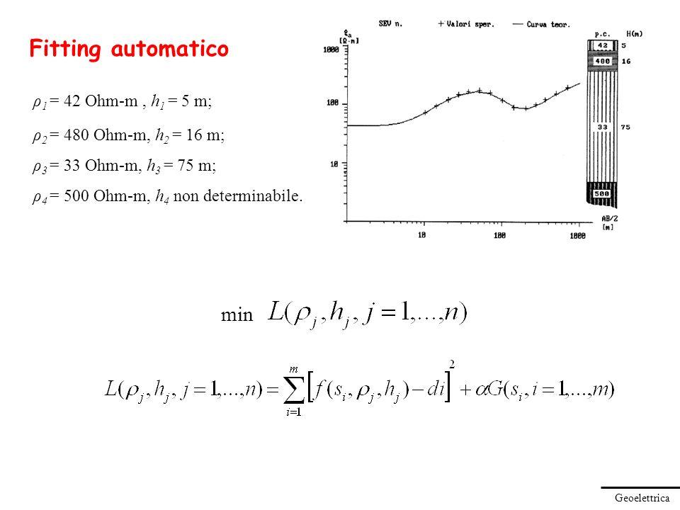 Geoelettrica ρ 1 = 42 Ohm-m, h 1 = 5 m; ρ 2 = 480 Ohm-m, h 2 = 16 m; ρ 3 = 33 Ohm-m, h 3 = 75 m; ρ 4 = 500 Ohm-m, h 4 non determinabile. Fitting autom