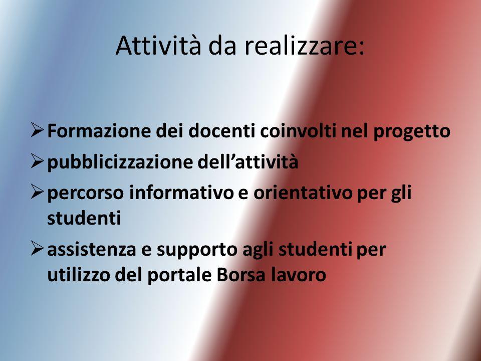 Attività da realizzare: Formazione dei docenti coinvolti nel progetto pubblicizzazione dellattività percorso informativo e orientativo per gli student