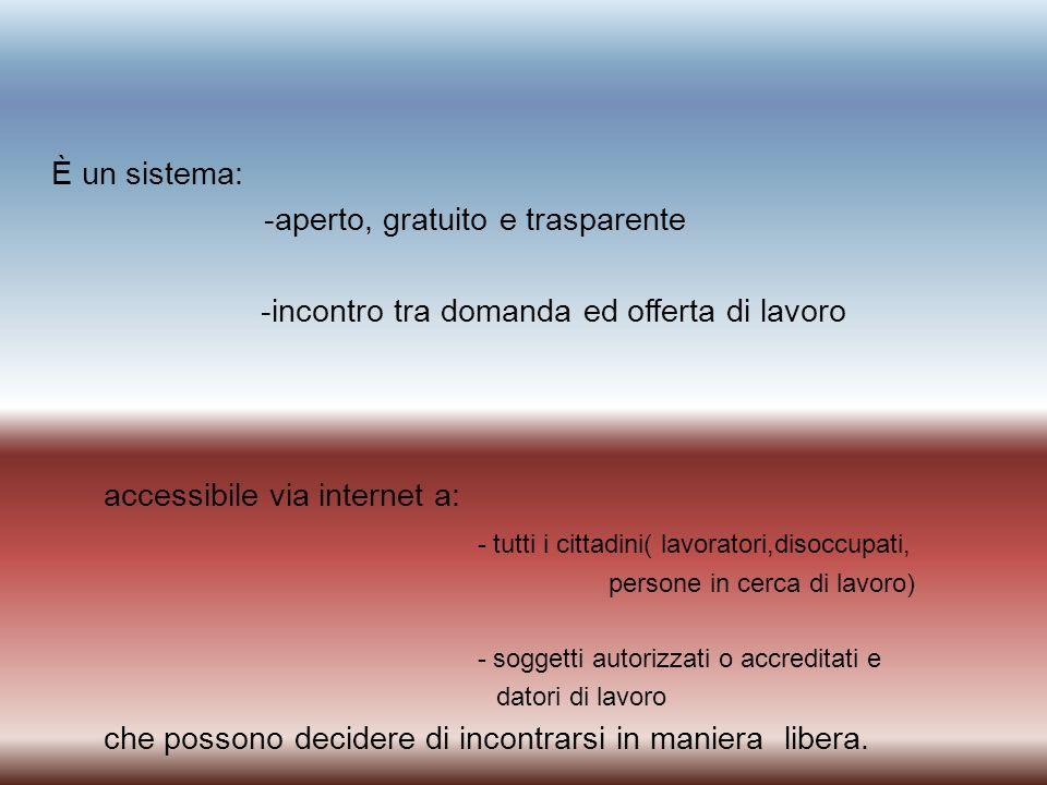 È un sistema: -aperto, gratuito e trasparente -incontro tra domanda ed offerta di lavoro accessibile via internet a: - tutti i cittadini( lavoratori,d