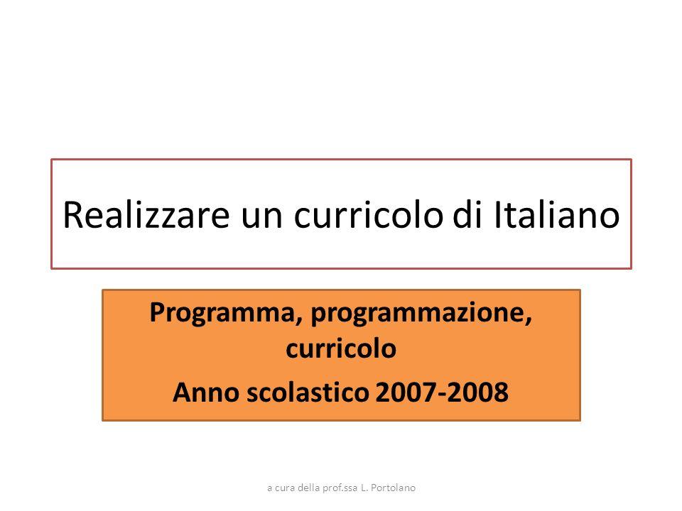 Realizzare un curricolo di Italiano Programma, programmazione, curricolo Anno scolastico 2007-2008 a cura della prof.ssa L. Portolano