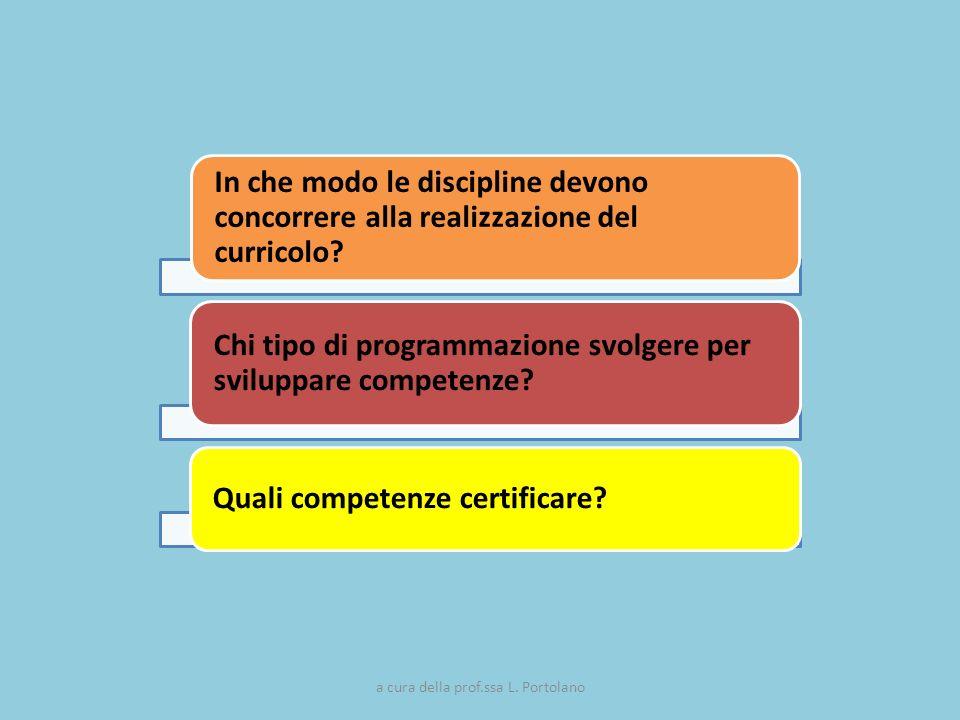 In che modo le discipline devono concorrere alla realizzazione del curricolo? Chi tipo di programmazione svolgere per sviluppare competenze? Quali com