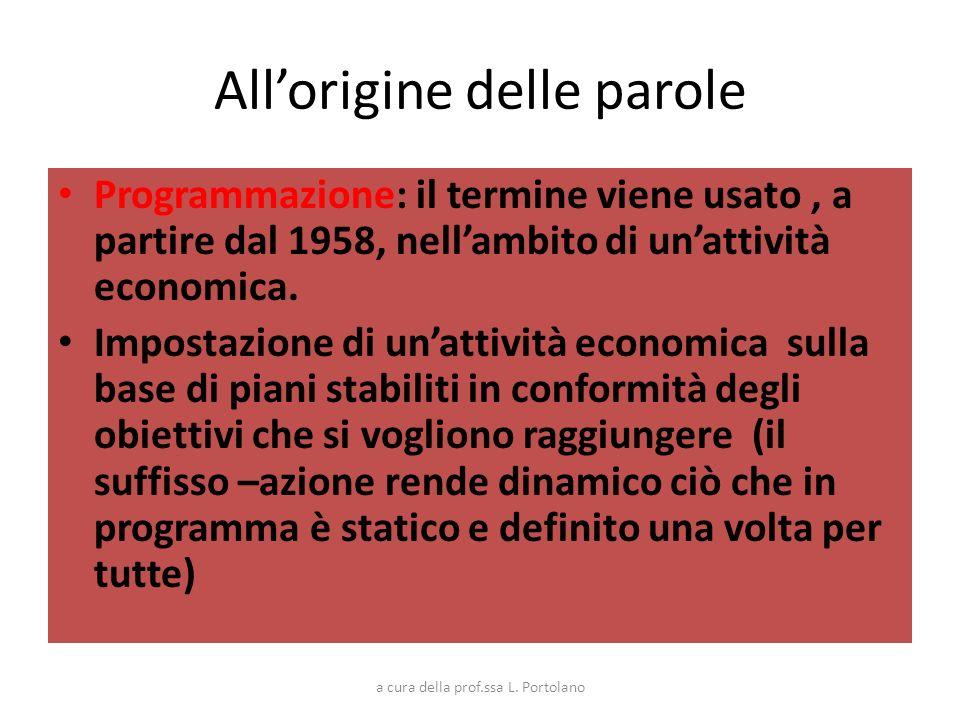 Allorigine delle parole Programmazione: il termine viene usato, a partire dal 1958, nellambito di unattività economica. Impostazione di unattività eco