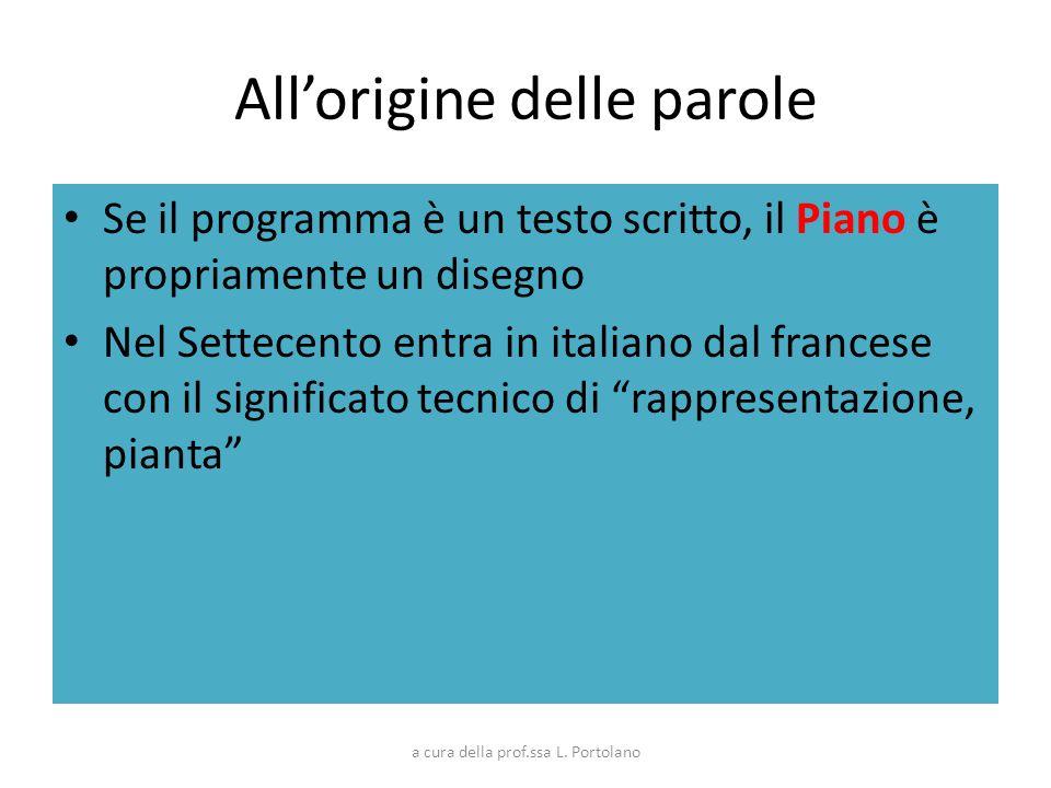Allorigine delle parole Se il programma è un testo scritto, il Piano è propriamente un disegno Nel Settecento entra in italiano dal francese con il si