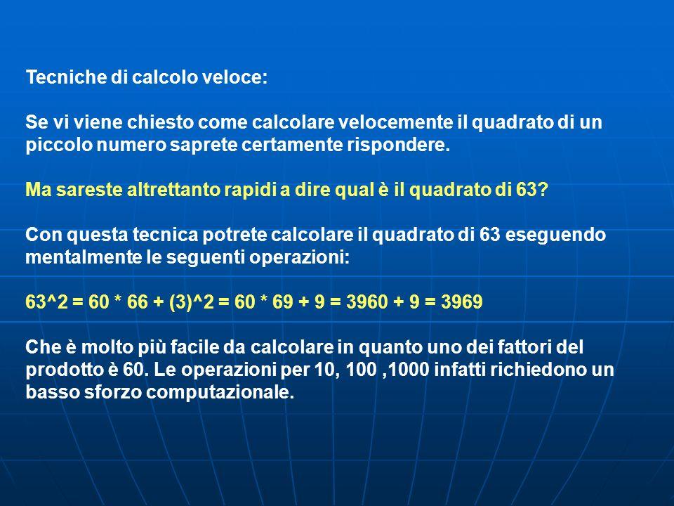 Tecniche di calcolo veloce: Se vi viene chiesto come calcolare velocemente il quadrato di un piccolo numero saprete certamente rispondere. Ma sareste