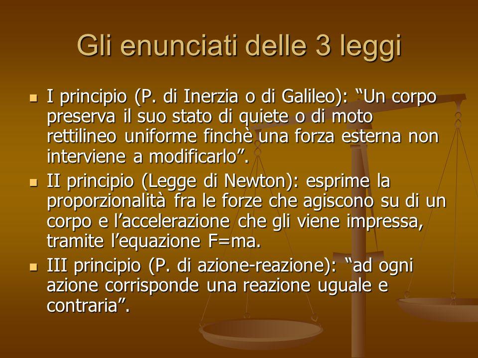 Gli enunciati delle 3 leggi I principio (P. di Inerzia o di Galileo): Un corpo preserva il suo stato di quiete o di moto rettilineo uniforme finchè un