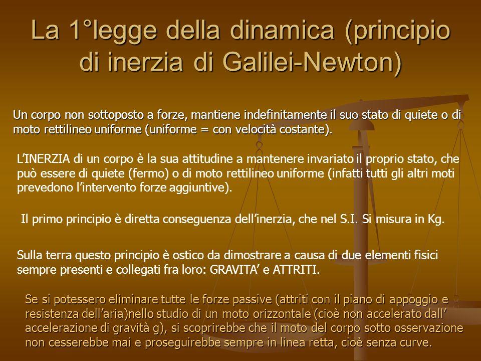 La 1°legge della dinamica (principio di inerzia di Galilei-Newton) Un corpo non sottoposto a forze, mantiene indefinitamente il suo stato di quiete o