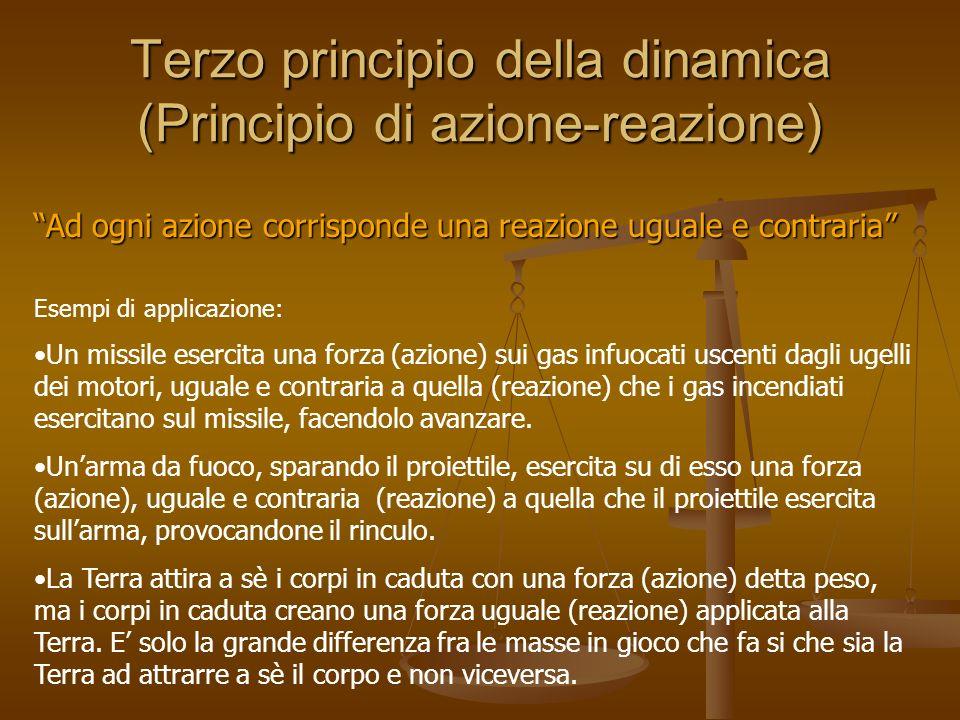 Terzo principio della dinamica (Principio di azione-reazione) Ad ogni azione corrisponde una reazione uguale e contraria Esempi di applicazione: Un mi