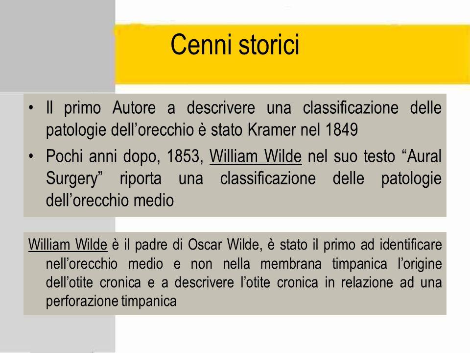 Cenni storici Il primo Autore a descrivere una classificazione delle patologie dellorecchio è stato Kramer nel 1849 Pochi anni dopo, 1853, William Wil