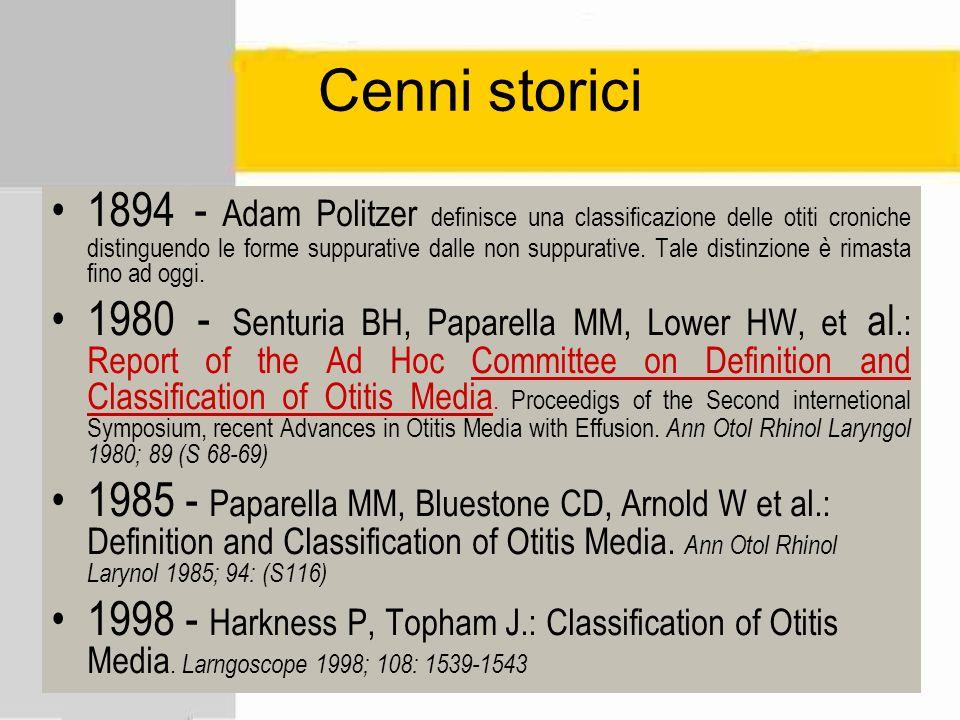 1894 - Adam Politzer definisce una classificazione delle otiti croniche distinguendo le forme suppurative dalle non suppurative. Tale distinzione è ri