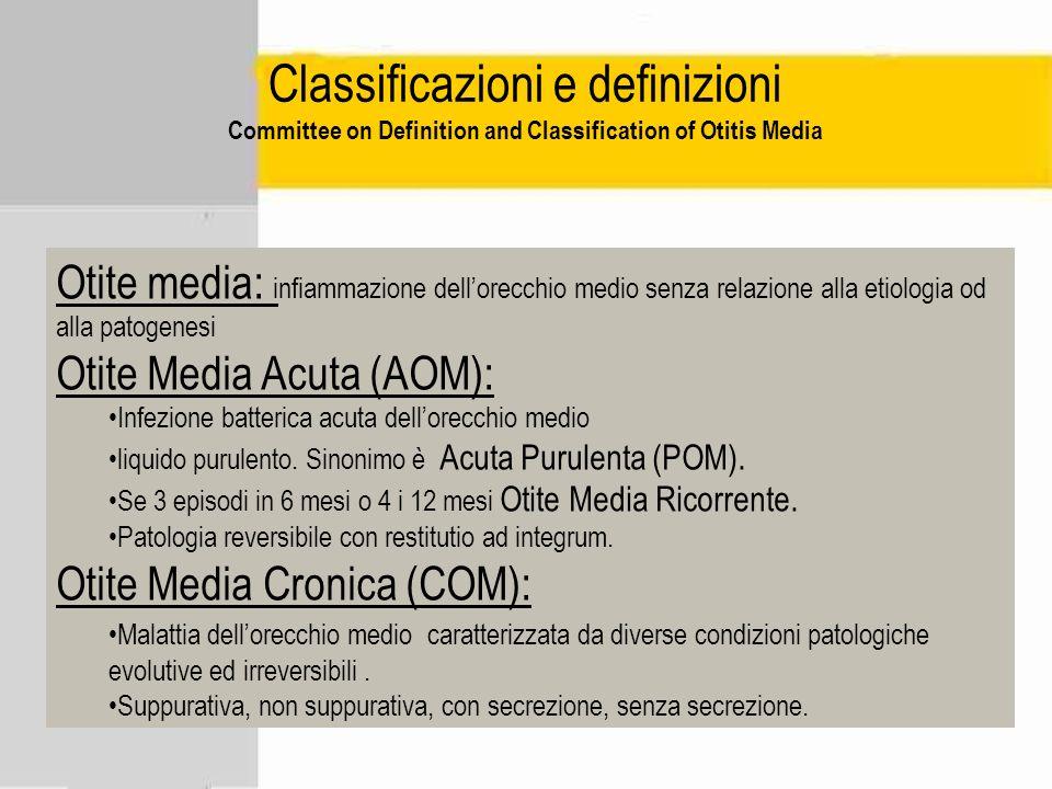 Classificazioni e definizioni Committee on Definition and Classification of Otitis Media Otite media: infiammazione dellorecchio medio senza relazione