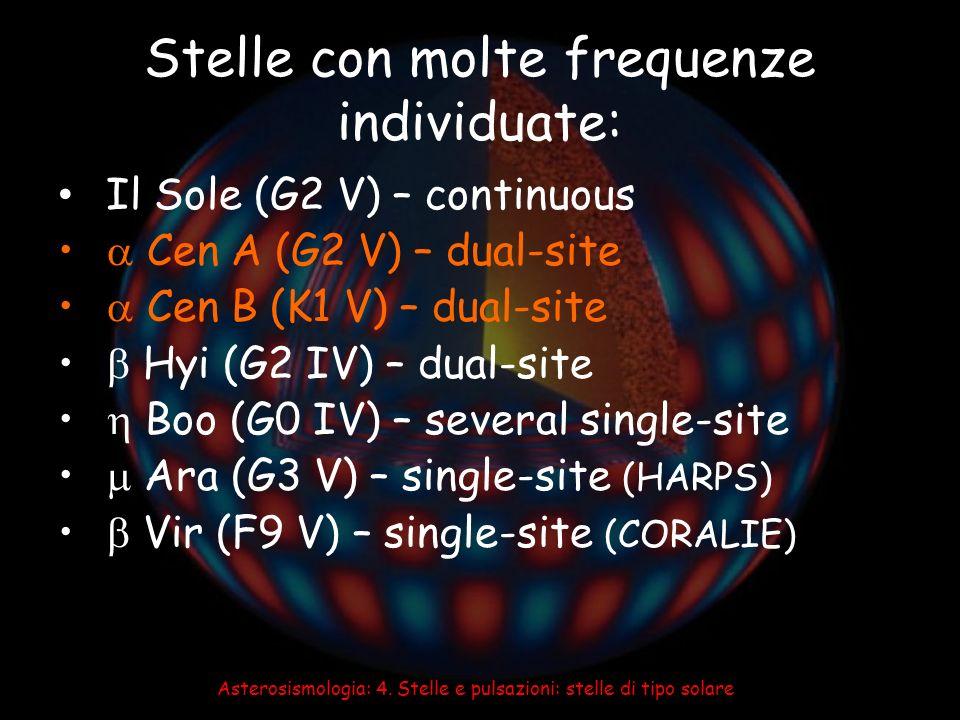 Asterosismologia: 4. Stelle e pulsazioni: stelle di tipo solare Stelle con molte frequenze individuate: Il Sole (G2 V) – continuous Cen A (G2 V) – dua