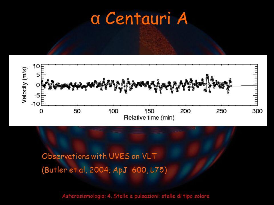 Asterosismologia: 4. Stelle e pulsazioni: stelle di tipo solare α Centauri A Observations with UVES on VLT (Butler et al, 2004; ApJ 600, L75)