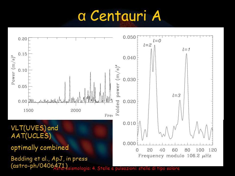 Asterosismologia: 4. Stelle e pulsazioni: stelle di tipo solare α Centauri A VLT(UVES) and AAT(UCLES) optimally combined Bedding et al., ApJ, in press