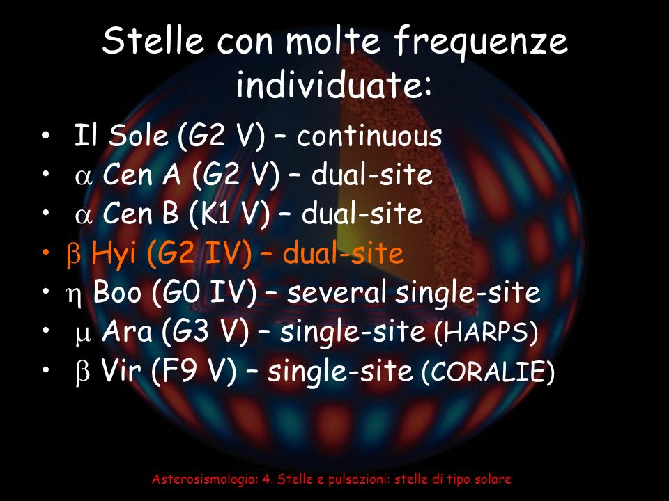 Stelle con molte frequenze individuate: Il Sole (G2 V) – continuous Cen A (G2 V) – dual-site Cen B (K1 V) – dual-site Hyi (G2 IV) – dual-site Boo (G0