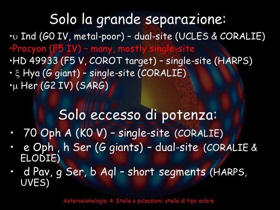 Solo la grande separazione: Solo eccesso di potenza: 70 Oph A (K0 V) – single-site (CORALIE) e Oph, h Ser (G giants) – dual-site (CORALIE & ELODIE) d
