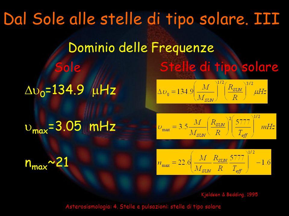 Asterosismologia: 4. Stelle e pulsazioni: stelle di tipo solare Dal Sole alle stelle di tipo solare. III Dominio delle Frequenze 0 =134.9 Hz Sole Stel