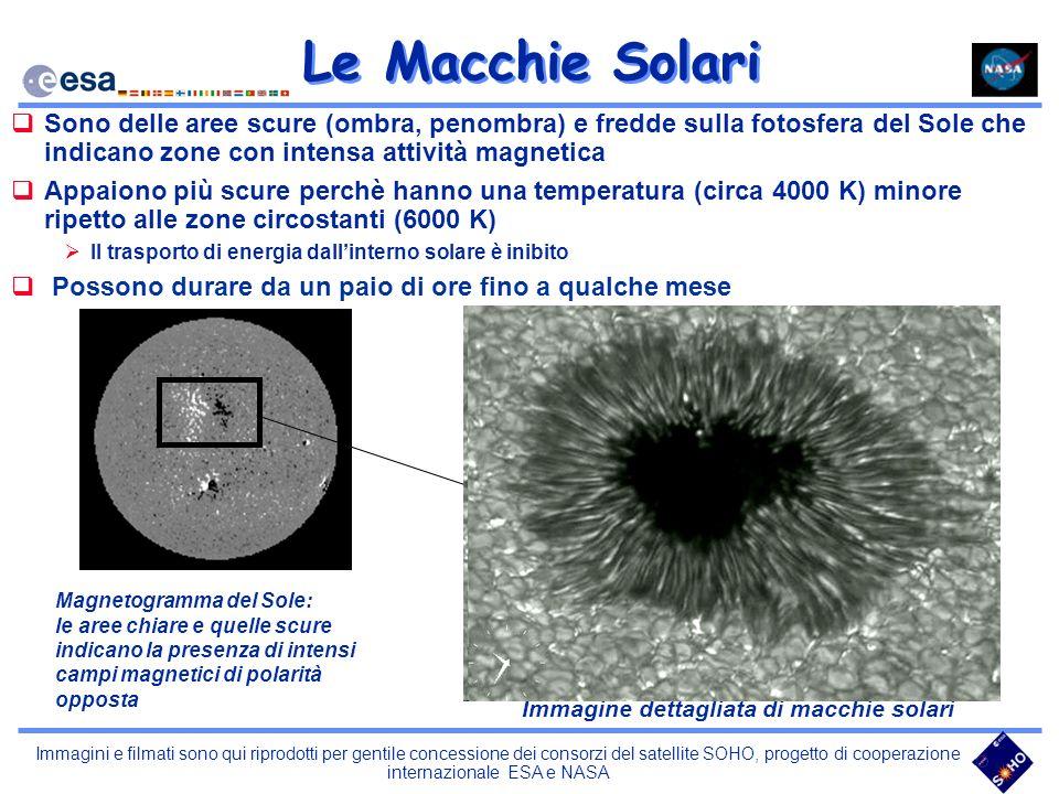 Immagini e filmati sono qui riprodotti per gentile concessione dei consorzi del satellite SOHO, progetto di cooperazione internazionale ESA e NASA Le