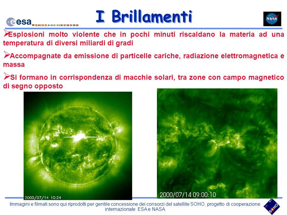 Immagini e filmati sono qui riprodotti per gentile concessione dei consorzi del satellite SOHO, progetto di cooperazione internazionale ESA e NASA I B