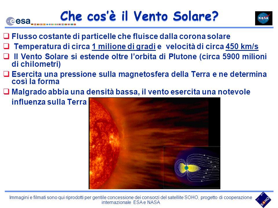 Immagini e filmati sono qui riprodotti per gentile concessione dei consorzi del satellite SOHO, progetto di cooperazione internazionale ESA e NASA Che