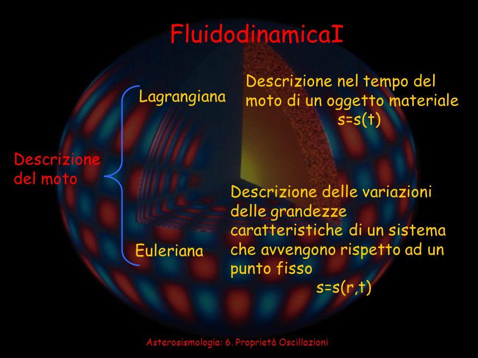 Asterosismologia: 6. Proprietà Oscillazioni FluidodinamicaI Descrizione del moto Lagrangiana Euleriana Descrizione nel tempo del moto di un oggetto ma