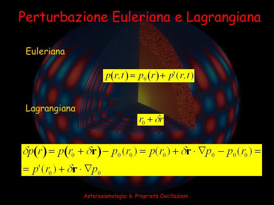 Asterosismologia: 6. Proprietà Oscillazioni Perturbazione Euleriana e Lagrangiana Euleriana Lagrangiana
