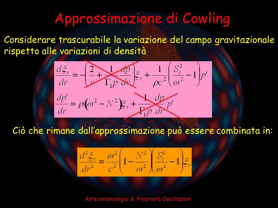 Asterosismologia: 6. Proprietà Oscillazioni Approssimazione di Cowling Considerare trascurabile la variazione del campo gravitazionale rispetto alle v