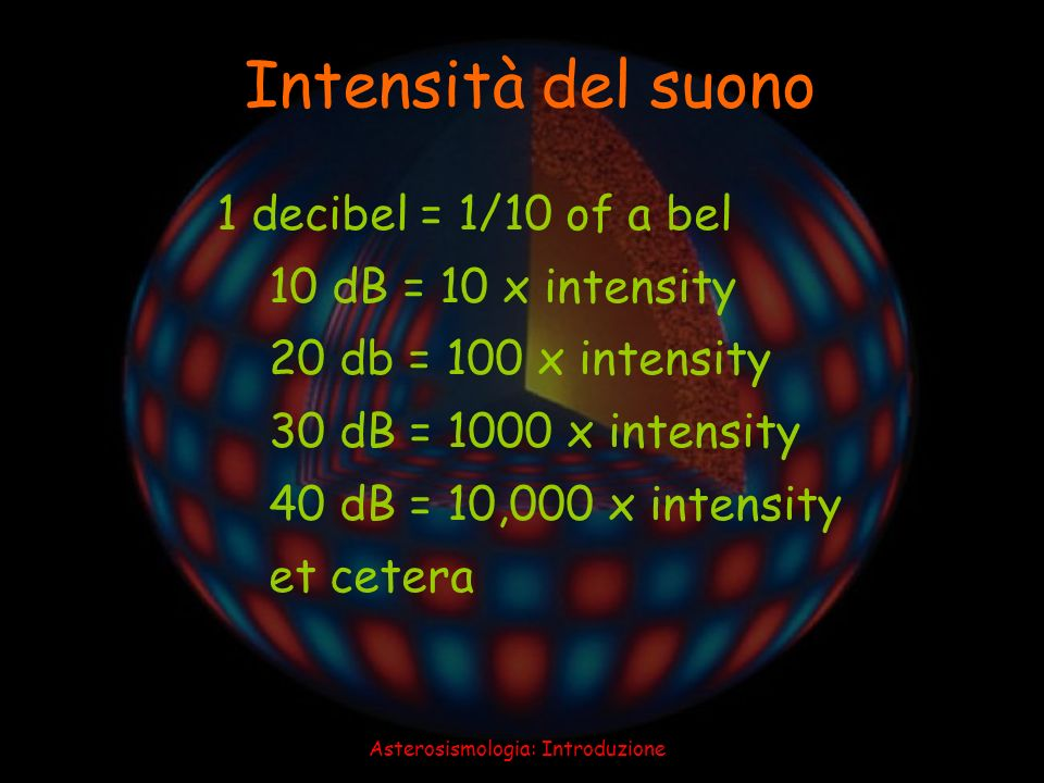 Asterosismologia: Introduzione 39 Intensità di alcuni suoni Threshold of hearing = 0 dB Whisper at 1 m = 20 dB Office or classroom = 50 dB Jackhammer at 1 m = 90 dB Rock group = 110 dB Threshold of pain = 120 dB Blue whale at 1 m = 180 dB Space shuttle at 50 m = 180 dB