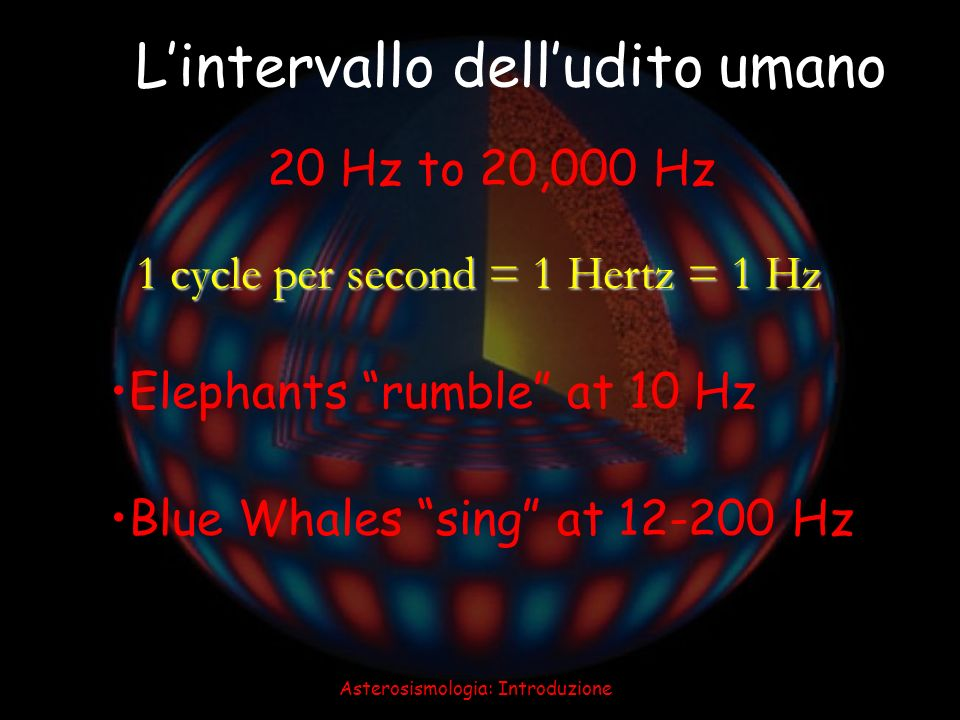 Asterosismologia: Introduzione 40 1 cycle per second = 1 Hertz = 1 Hz Lintervallo delludito umano Elephants rumble at 10 Hz Blue Whales sing at 12-200
