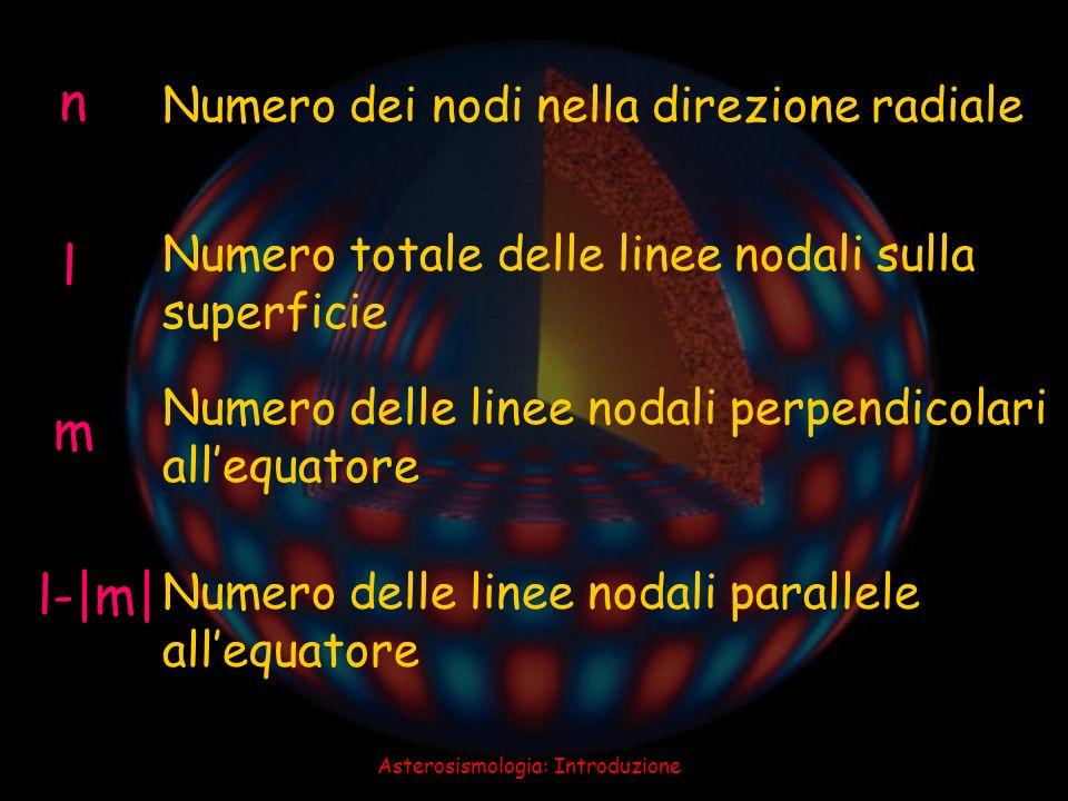 Asterosismologia: Introduzione n l m l-|m| Numero dei nodi nella direzione radiale Numero totale delle linee nodali sulla superficie Numero delle line