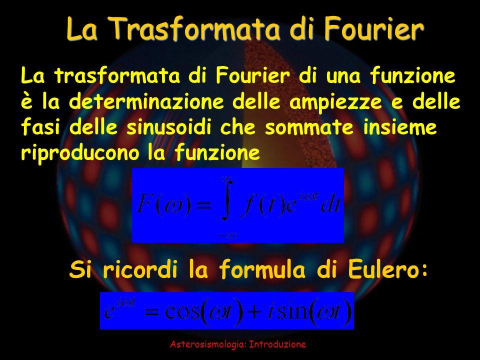 Asterosismologia: Introduzione La trasformata di Fourier di una funzione è la determinazione delle ampiezze e delle fasi delle sinusoidi che sommate i