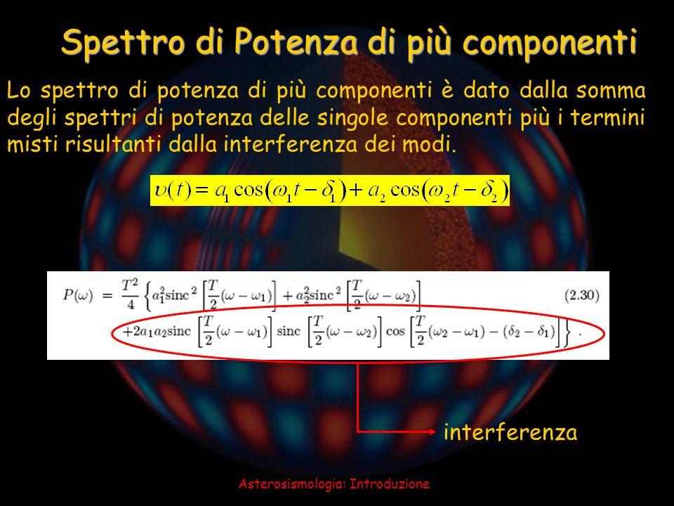 Asterosismologia: Introduzione Spettro di Potenza di più componenti Lo spettro di potenza di più componenti è dato dalla somma degli spettri di potenz