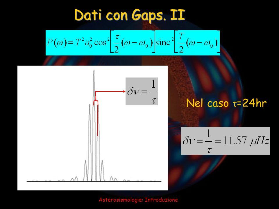 Asterosismologia: Introduzione Dati con Gaps. II Nel caso =24hr