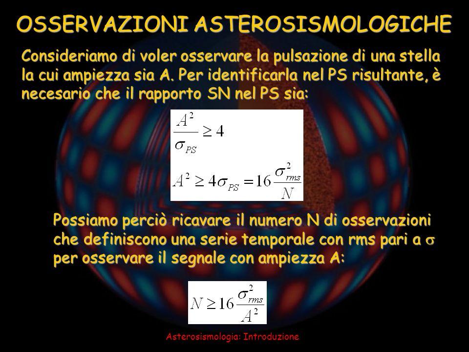 Asterosismologia: Introduzione OSSERVAZIONI ASTEROSISMOLOGICHE Consideriamo di voler osservare la pulsazione di una stella la cui ampiezza sia A. Per