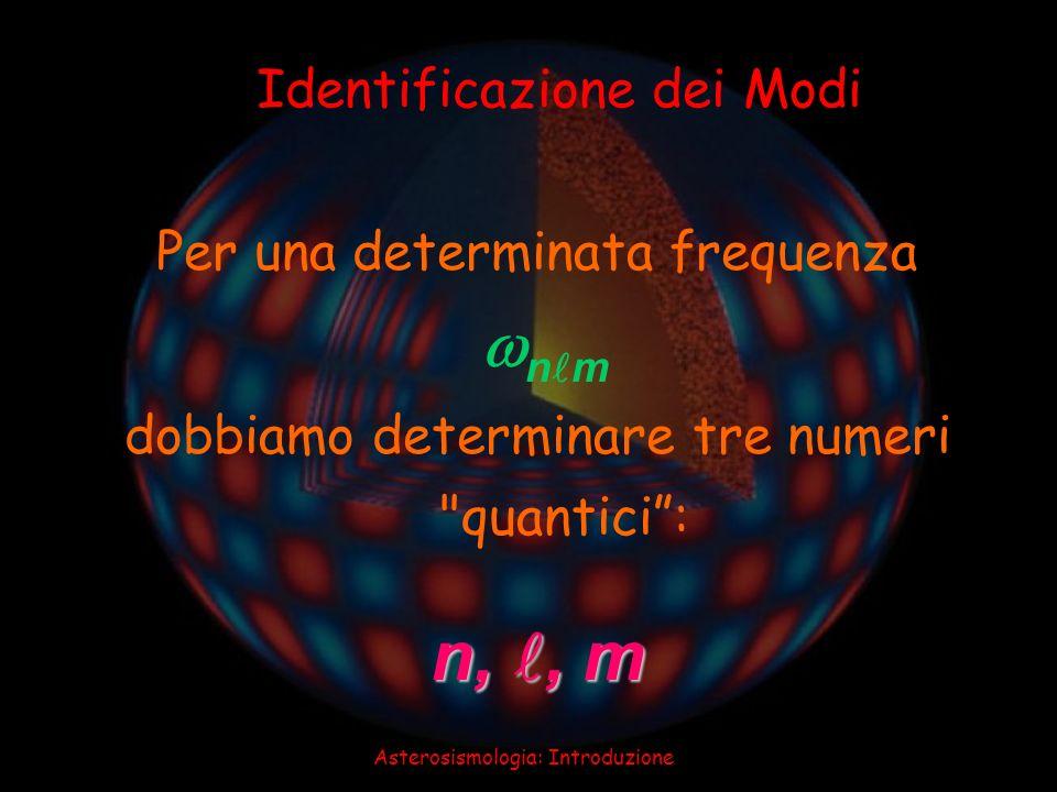Asterosismologia: Introduzione Identificazione dei Modi n,, m Per una determinata frequenza n m dobbiamo determinare tre numeri