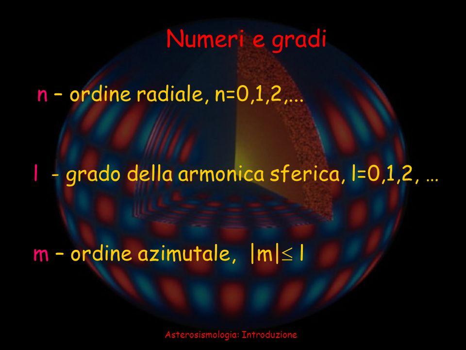 Asterosismologia: Introduzione n – ordine radiale, n=0,1,2,... l - grado della armonica sferica, l=0,1,2, … m – ordine azimutale, |m| l Numeri e gradi