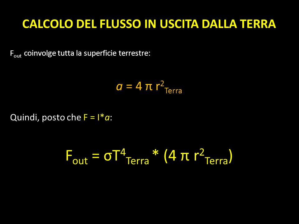 CALCOLO DEL FLUSSO IN USCITA DALLA TERRA F out coinvolge tutta la superficie terrestre: a = 4 π r 2 Terra Quindi, posto che F = I*a: F out = σT 4 Terr