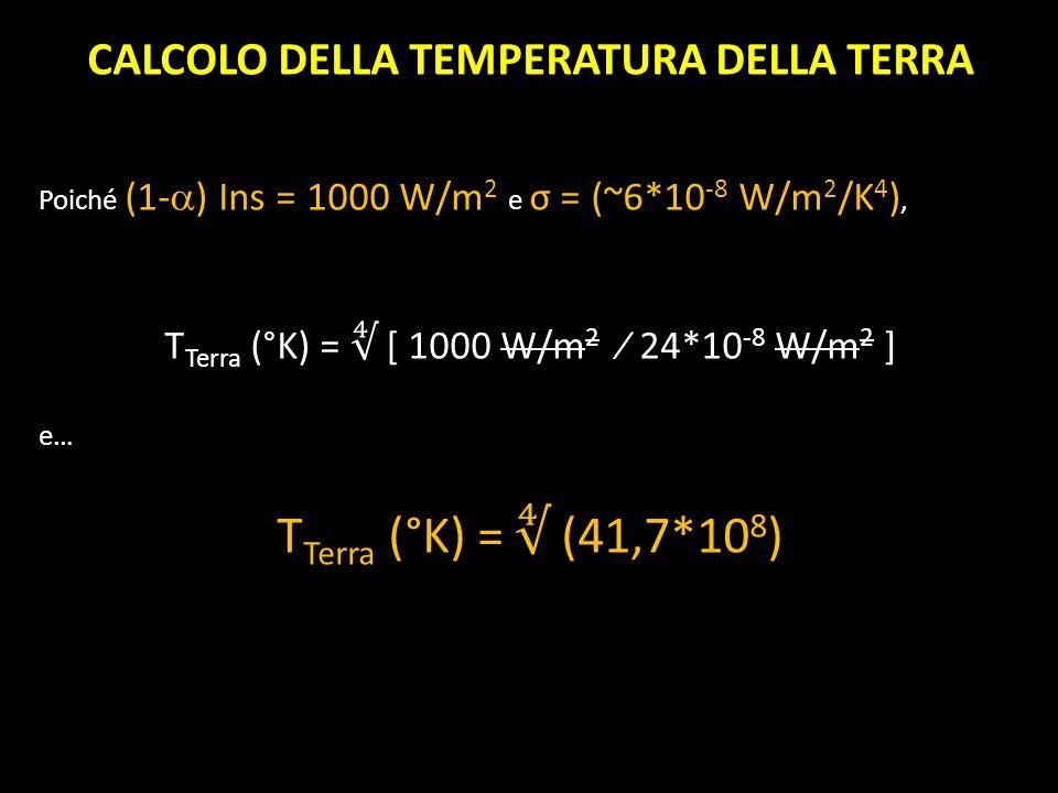 CALCOLO DELLA TEMPERATURA DELLA TERRA Poiché (1- ) Ins = 1000 W/m 2 e σ = (~6*10 -8 W/m 2 /K 4 ), T Terra (°K) = [ 1000 W/m 2 24*10 -8 W/m 2 ] e… T Te