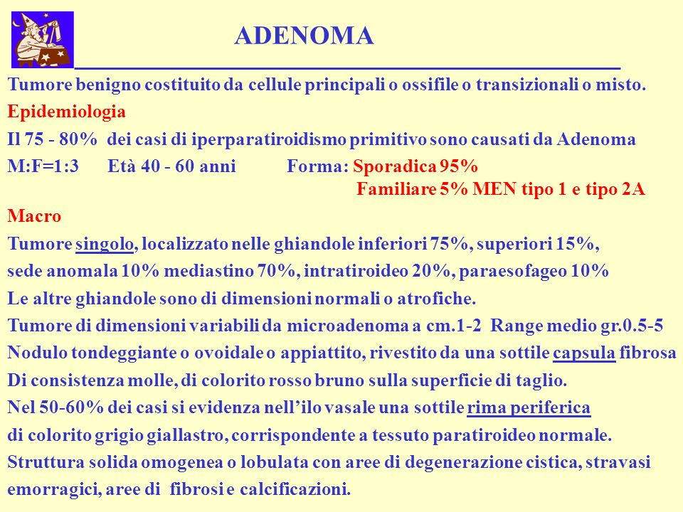 ADENOMA Tumore benigno costituito da cellule principali o ossifile o transizionali o misto. Epidemiologia Il 75 - 80% dei casi di iperparatiroidismo p