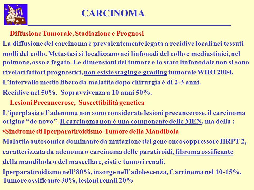 CARCINOMA Diffusione Tumorale, Stadiazione e Prognosi La diffusione del carcinoma è prevalentemente legata a recidive locali nei tessuti molli del col