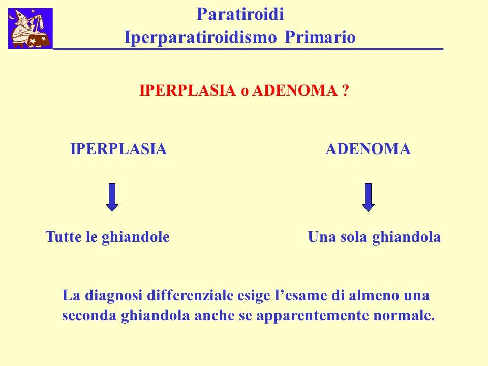 Paratiroidi Iperparatiroidismo Primario IPERPLASIA o ADENOMA ? IPERPLASIA ADENOMA Tutte le ghiandole Una sola ghiandola La diagnosi differenziale esig