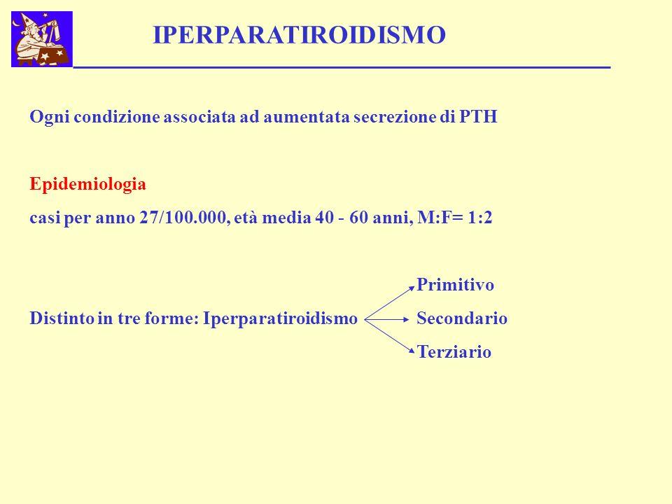 IPERPARATIROIDISMO Ogni condizione associata ad aumentata secrezione di PTH Epidemiologia casi per anno 27/100.000, età media 40 - 60 anni, M:F= 1:2 P