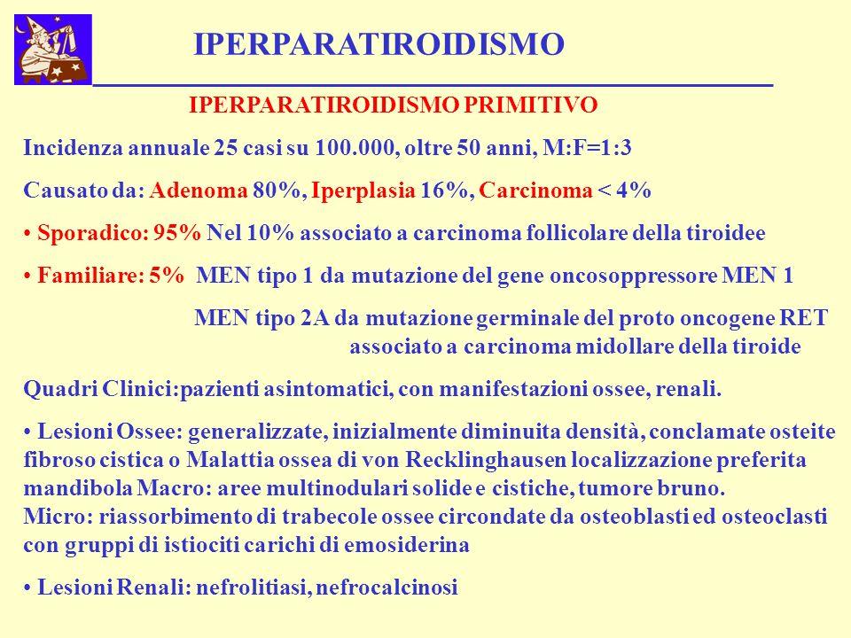 IPERPARATIROIDISMO IPERPARATIROIDISMO SECONDARIO L Insufficienza renale cronica o meno frequente il Malassorbimento intestinale causa Iperfosfatemia ed Ipocalcemia, stimola le paratiroidi e determina IPERPLASIA A CELLULE PRINCIPALI.