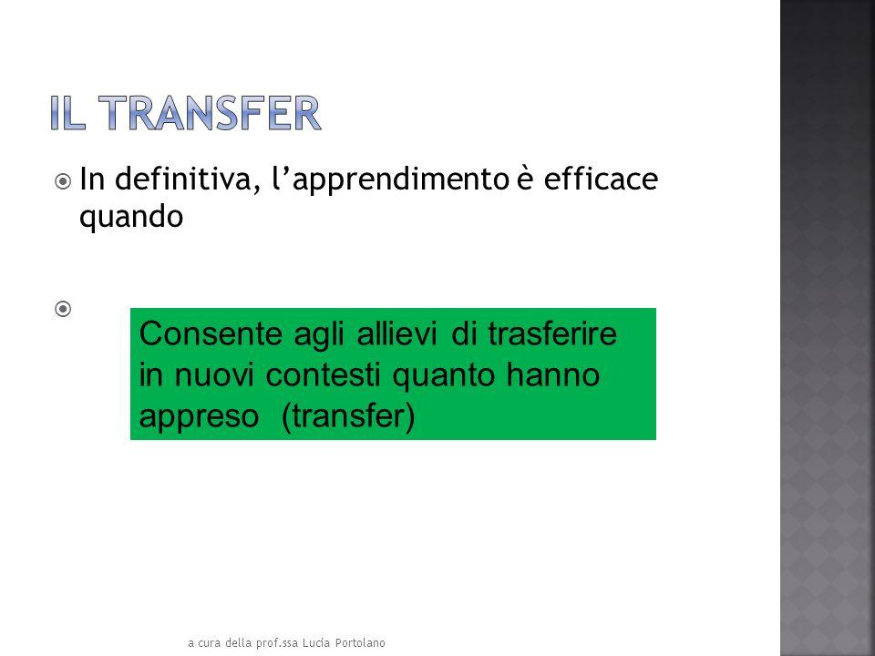 In definitiva, lapprendimento è efficace quando Consente agli allievi di trasferire in nuovi contesti quanto hanno appreso (transfer) a cura della pro
