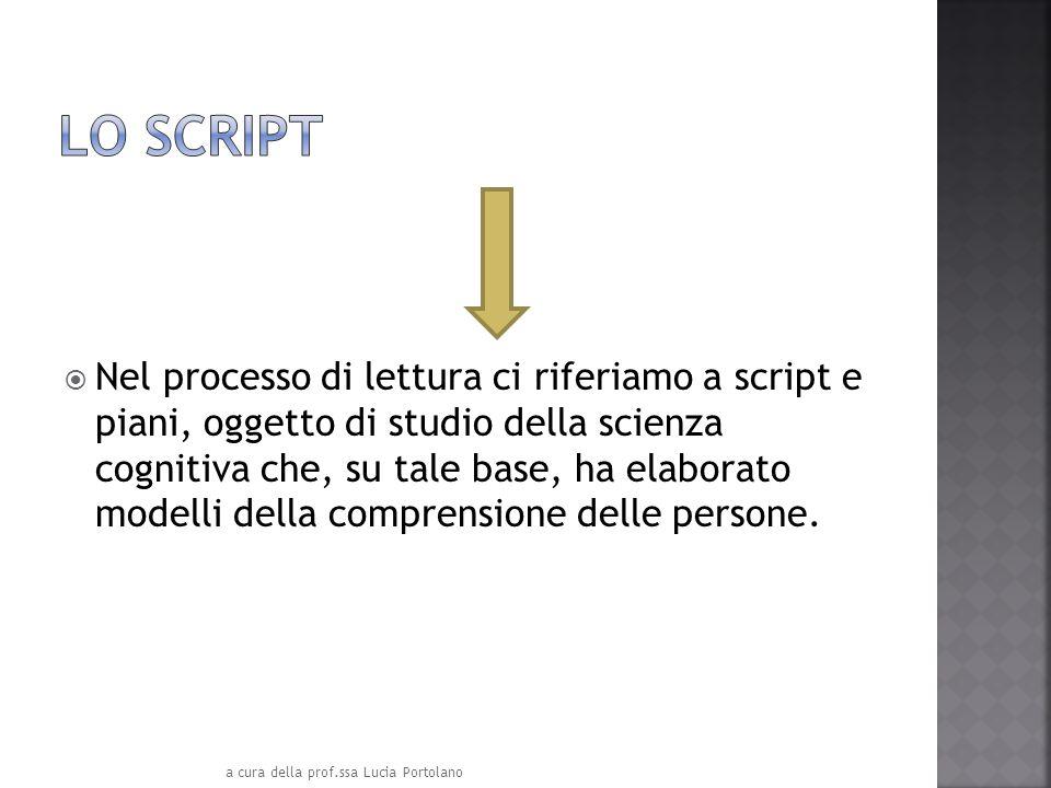 Nel processo di lettura ci riferiamo a script e piani, oggetto di studio della scienza cognitiva che, su tale base, ha elaborato modelli della compren
