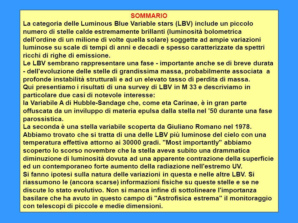 ARGOMENTI: Le stelle variabili superluminose: curve di luce, luminosità e temperatura LBV in M31 e M33 La Variabile A di Hubble-Sandage in M33 La stella di Giuliano Romano GR 290 in M33 Considerazioni generali: instabilità, fase evolutiva, massa Il nucleo di M 33 visto dal telescopio Vaticano in Arizona (immagine negativa)