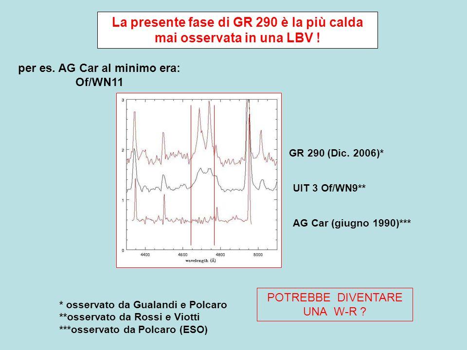 La presente fase di GR 290 è la più calda mai osservata in una LBV .